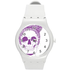 Purple Skull Bun Up Plastic Sport Watch (medium) by vividaudacity