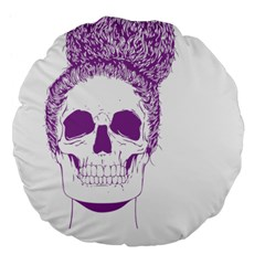 Purple Skull Bun Up 18  Premium Flano Round Cushion