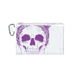 Purple Skull Bun Up Canvas Cosmetic Bag (small) by vividaudacity
