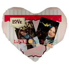 Love By Ki Ki   Large 19  Premium Flano Heart Shape Cushion   Gqzlgnhqh0o7   Www Artscow Com Front