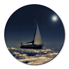 Navigating Trough Clouds Dreamy Collage Photography 8  Mouse Pad (round) by dflcprints