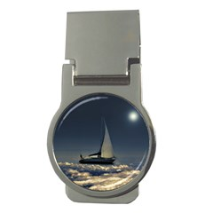 Navigating Trough Clouds Dreamy Collage Photography Money Clip (round) by dflcprints