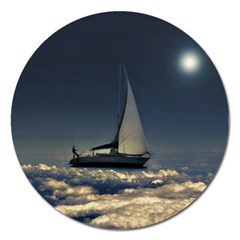 Navigating Trough Clouds Dreamy Collage Photography Magnet 5  (round) by dflcprints