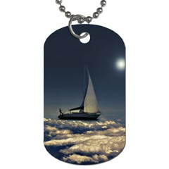 Navigating Trough Clouds Dreamy Collage Photography Dog Tag (one Sided) by dflcprints