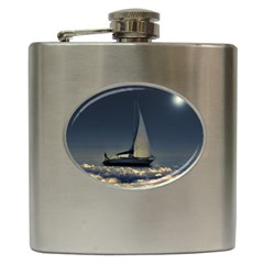 Navigating Trough Clouds Dreamy Collage Photography Hip Flask by dflcprints
