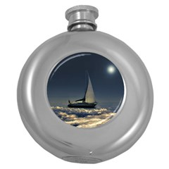 Navigating Trough Clouds Dreamy Collage Photography Hip Flask (round) by dflcprints