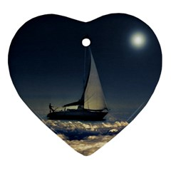 Navigating Trough Clouds Dreamy Collage Photography Heart Ornament (two Sides) by dflcprints