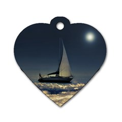 Navigating Trough Clouds Dreamy Collage Photography Dog Tag Heart (two Sided) by dflcprints