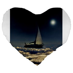 Navigating Trough Clouds Dreamy Collage Photography 19  Premium Heart Shape Cushion by dflcprints