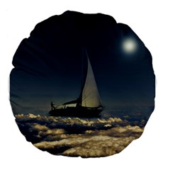 Navigating Trough Clouds Dreamy Collage Photography 18  Premium Flano Round Cushion  by dflcprints