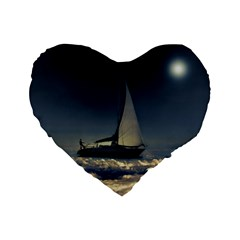 Navigating Trough Clouds Dreamy Collage Photography 16  Premium Flano Heart Shape Cushion  by dflcprints
