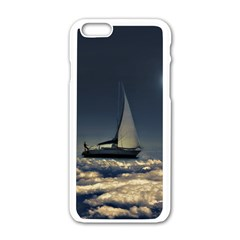 Navigating Trough Clouds Dreamy Collage Photography Apple Iphone 6 White Enamel Case by dflcprints