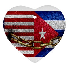 United States And Cuba Flags United Design Heart Ornament by dflcprints