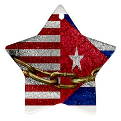 United States And Cuba Flags United Design Star Ornament by dflcprints