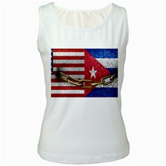 United States And Cuba Flags United Design Women s Tank Top (white) by dflcprints