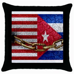 United States And Cuba Flags United Design Black Throw Pillow Case by dflcprints