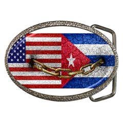 United States And Cuba Flags United Design Belt Buckle (oval) by dflcprints