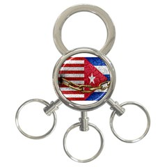 United States And Cuba Flags United Design 3 Ring Key Chain by dflcprints