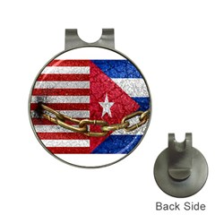 United States And Cuba Flags United Design Hat Clip With Golf Ball Marker by dflcprints