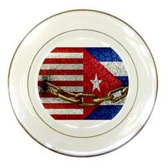 United States And Cuba Flags United Design Porcelain Display Plate by dflcprints