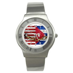 United States And Cuba Flags United Design Stainless Steel Watch (slim) by dflcprints