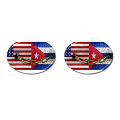 United States And Cuba Flags United Design Cufflinks (oval) by dflcprints