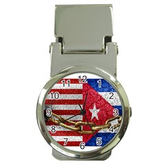 United States And Cuba Flags United Design Money Clip With Watch by dflcprints