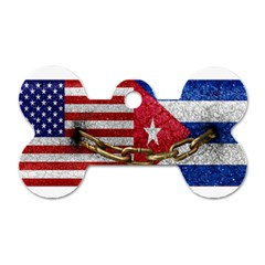United States And Cuba Flags United Design Dog Tag Bone (two Sided) by dflcprints