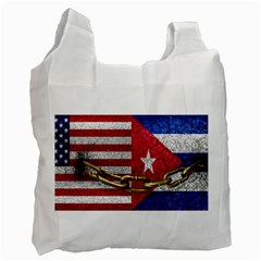 United States And Cuba Flags United Design White Reusable Bag (two Sides) by dflcprints
