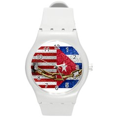 United States And Cuba Flags United Design Plastic Sport Watch (medium) by dflcprints