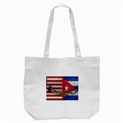 United States and Cuba Flags United Design Tote Bag (White) by dflcprints