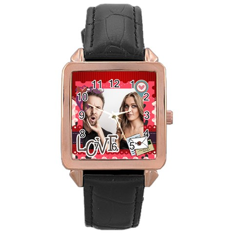 Love By Love   Rose Gold Leather Watch    4djuppjf6xbb   Www Artscow Com Front