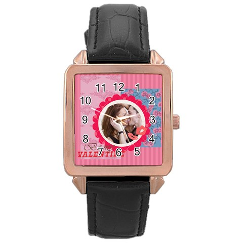 Love By Love   Rose Gold Leather Watch    V864rx52u6re   Www Artscow Com Front