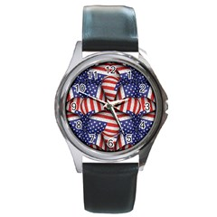Modern Usa Flag Pattern Round Leather Watch (silver Rim) by dflcprints