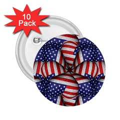 Modern Usa Flag Pattern 2 25  Button (10 Pack) by dflcprints