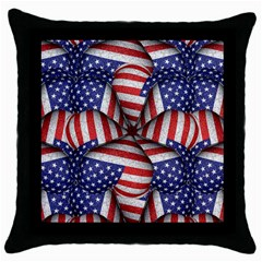 Modern Usa Flag Pattern Black Throw Pillow Case by dflcprints