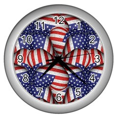 Modern Usa Flag Pattern Wall Clock (silver) by dflcprints