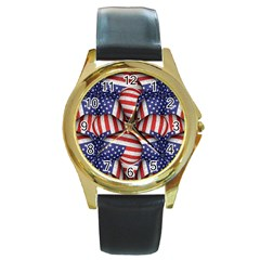 Modern Usa Flag Pattern Round Leather Watch (gold Rim)  by dflcprints