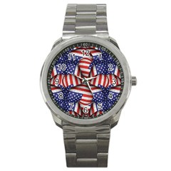Modern Usa Flag Pattern Sport Metal Watch by dflcprints