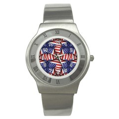 Modern Usa Flag Pattern Stainless Steel Watch (slim) by dflcprints