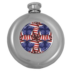 Modern Usa Flag Pattern Hip Flask (round) by dflcprints