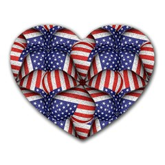 Modern Usa Flag Pattern Mouse Pad (heart) by dflcprints