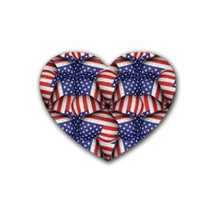 Modern Usa Flag Pattern Drink Coasters (heart) by dflcprints
