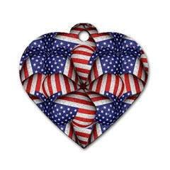 Modern Usa Flag Pattern Dog Tag Heart (two Sided) by dflcprints