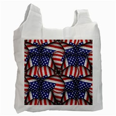 Modern Usa Flag Pattern White Reusable Bag (two Sides) by dflcprints