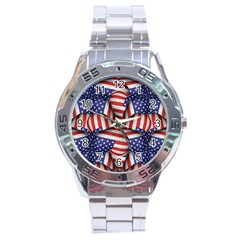 Modern Usa Flag Pattern Stainless Steel Watch by dflcprints