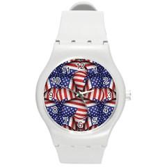 Modern Usa Flag Pattern Plastic Sport Watch (medium) by dflcprints