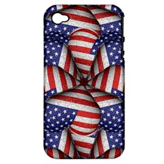 Modern Usa Flag Pattern Apple Iphone 4/4s Hardshell Case (pc+silicone) by dflcprints
