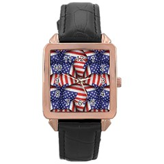 Modern Usa Flag Pattern Rose Gold Leather Watch  by dflcprints