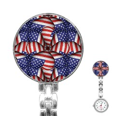 Modern Usa Flag Pattern Stainless Steel Nurses Watch by dflcprints